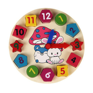 Colorful 12 Numbers Clock child toy Educational wooden toy
