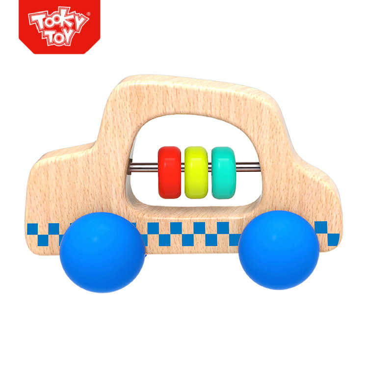Wooden Cute Blue Roller Car Infant push toy