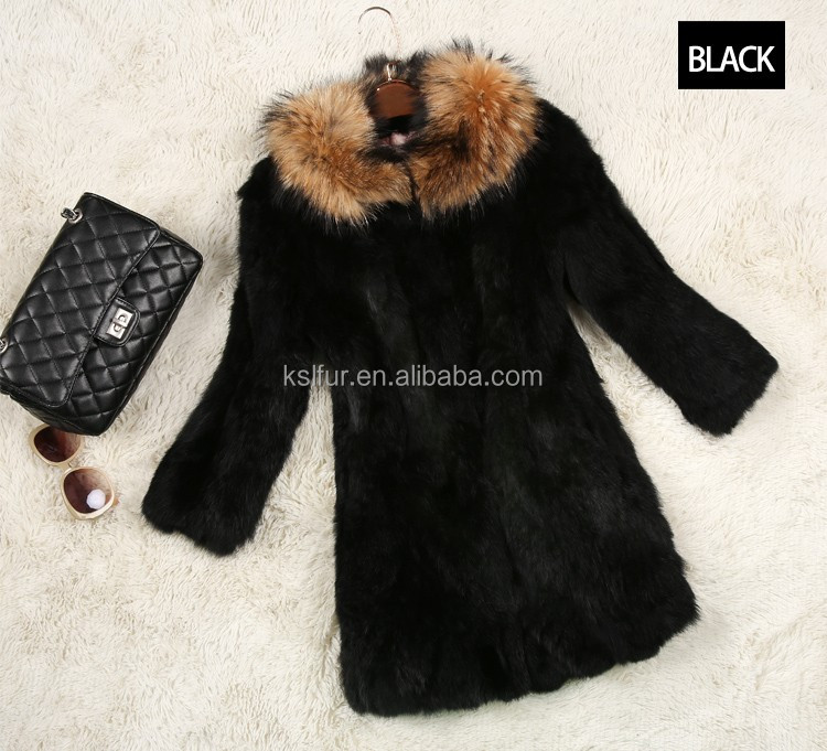 High Quality With a raccoon collars rabbit fur coat fashion warm long rabbit hair lady's garment