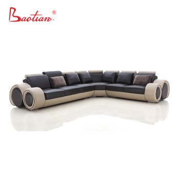Baotian Furniture New L Shaped Modern Black Leather Sofa Couch