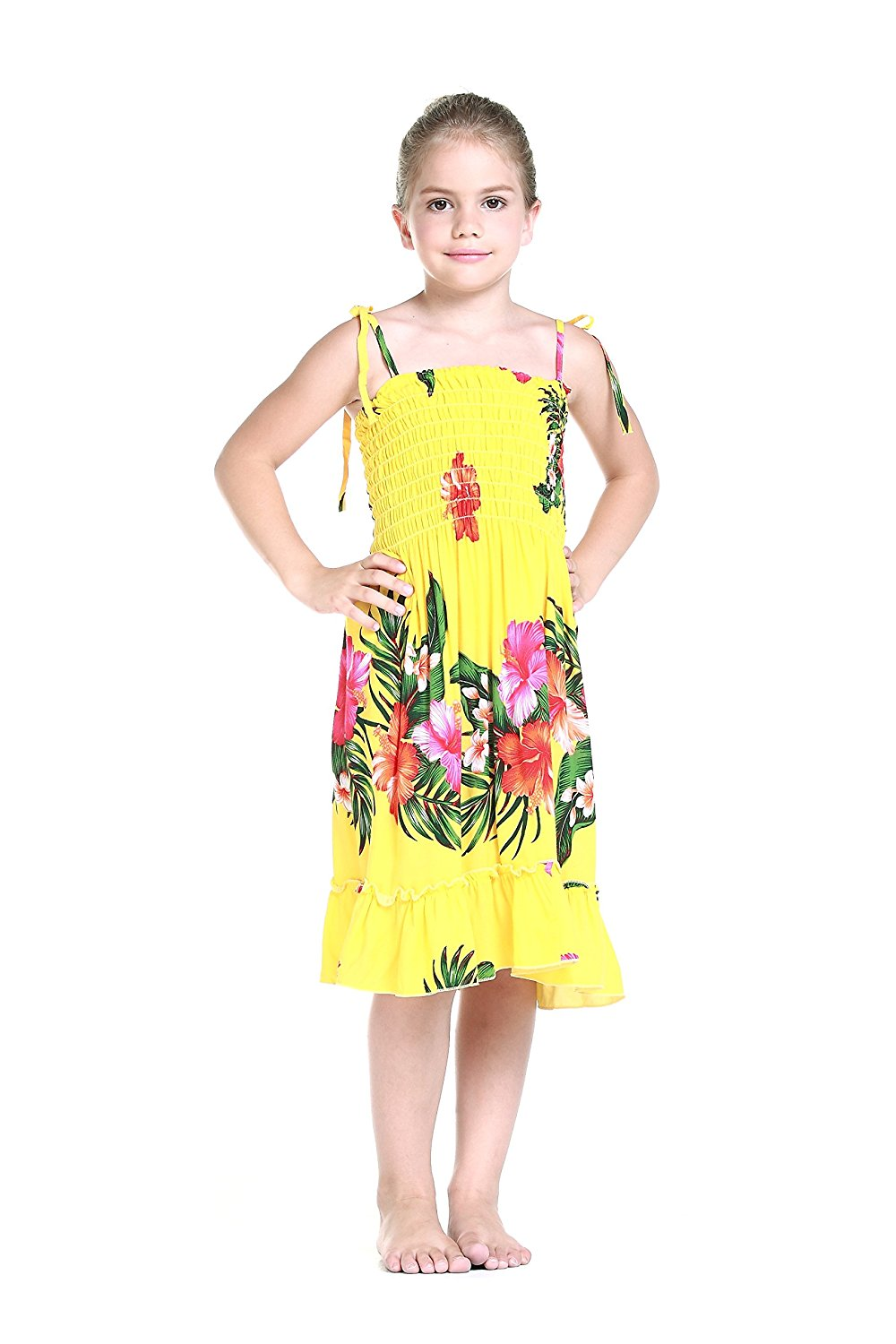 06360deb97 Get Quotations · Girl Yellow Floral Hawaiian Luau Dress in Various Styles