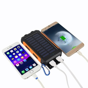 Solar Charger 8000mAh Portable Solar Power Bank Shockproof Dual USB Battery Bank for cell phone