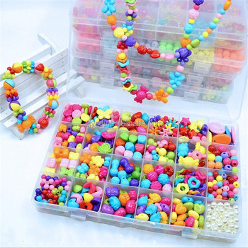 Diy Kids loose bead set children jewelry accessories children plastic loose beads cheap toys gifts for kids