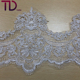 2019 Embroidery sequins textile stretch African scallop high quality bridal fabric dubai lace trim