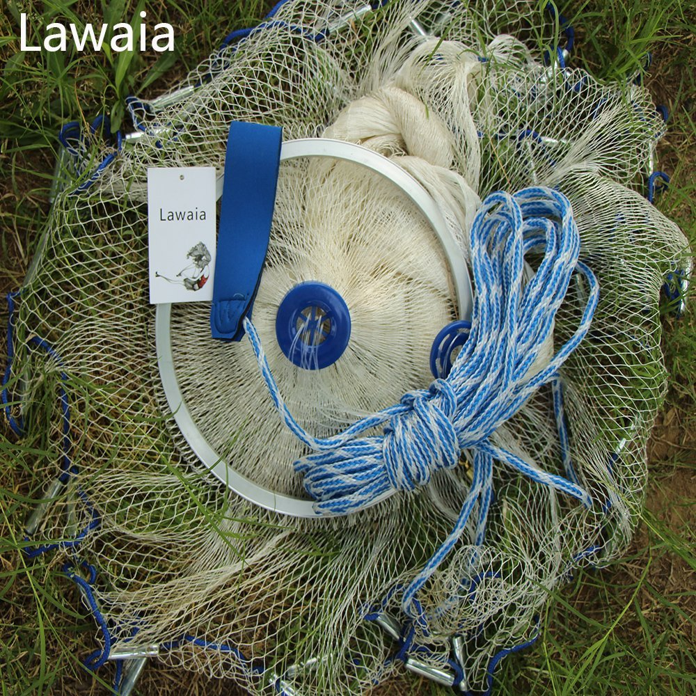 Lawaia saltwater fishing net rainbow fish net Length:3.9ft/4.9ft/5.9ft/6.85ft/7.85ft/8.85ft/9.8ft/10.8ft/11.8ft