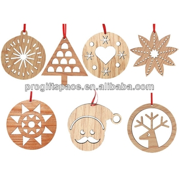 2018 hot sell handmade wooden laser cut christmas decoration made in china