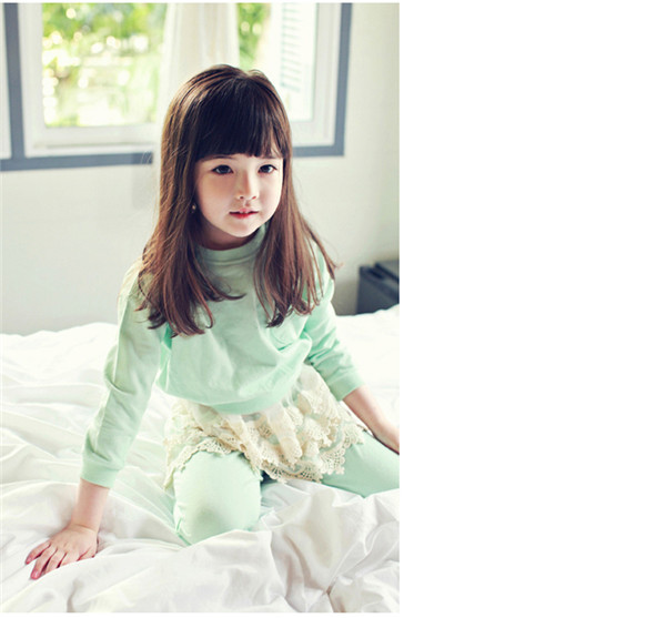 2015 Top Fashion Girls Clothing Baby Girl Suits Sets Clothes Children Solid Full Sleeved T-shirt Lace Pants New Cotton Kids