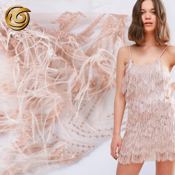 Fashion Unique Design white and Gold 3D flower lace with feather