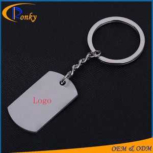 Trendy promotional advertising gift key rings metal logo tag two sided  custom keychain