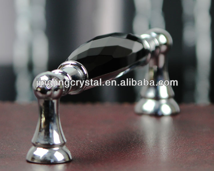 Black Crystal Glass Zinc Alloy <strong>Handle</strong> 128mm / 96mm China factory