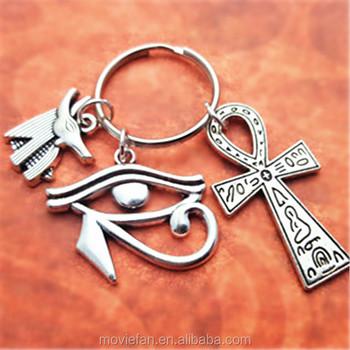 Egypt Traveller Keyring Egypt Keychain Ancient Egyptian Symbols Ankh Charm  Anubis Charm Eye Of Horus Charm - Buy Keychain,Egypt Traveller