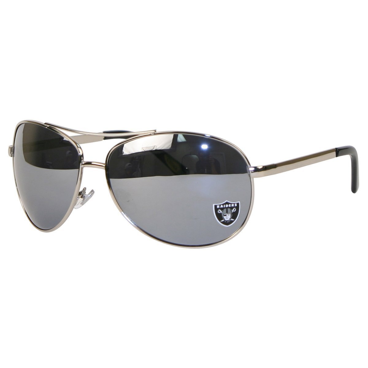 Oakland Raiders NFL Team Big Aviator Sunglasses - Mirrored Lenses - Hinged Arms