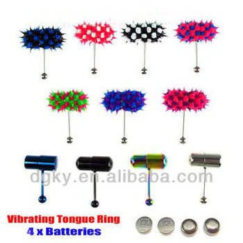 Vibrating Tongue Bar Ring Koosh Ball 4 Batteries Body Piercing Jewelry