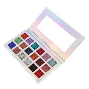 Private label high pigment rainbow eyeshadow cosmetic 18 colors waterproof glitter eyeshadow palette
