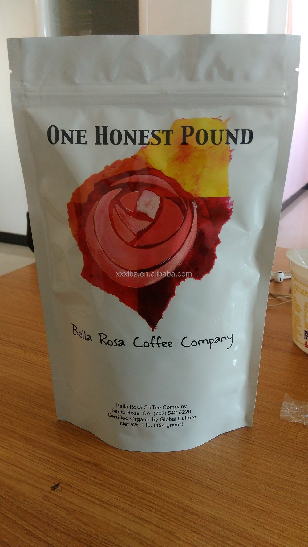 food grade coffee bean bags/doypack foil lined coffee bean sachet/stand up coffee bag with valve