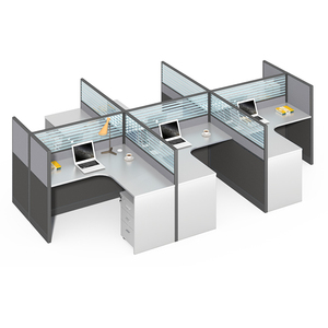 Standard Sizes Modular Aluminum Partitions Glass Divider 6 Person Workstation Furniture Modern Office Cubicles