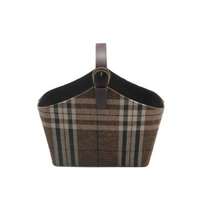 Hamper basket brown plaid fabric tote with handle basket for chocolate gift