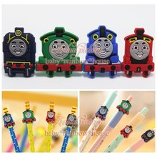4pcs/lot Thomas The Tank Engine Pencil Topper Pencil Cap Writing Supplies office Stationery Gifts Pencil Accessories Kids Gifts