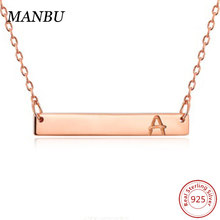 925 sterling silver letter rose gold bar necklace