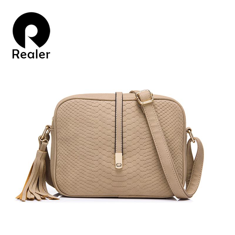 51cb446fba69 REALER бренд модная женская сумка через плечо из искусственной кожи,  кроссбоди сумка для леди(