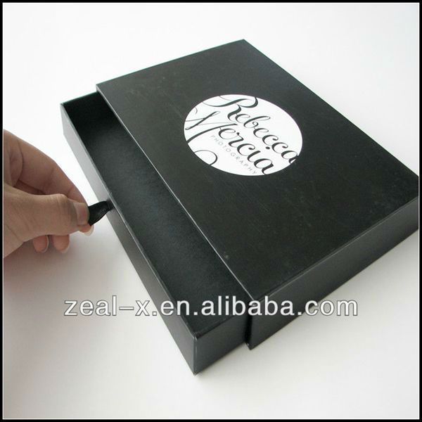 Black Matte Paper Slide Open Sliding Drawer Ribbon Pull Packaging Box