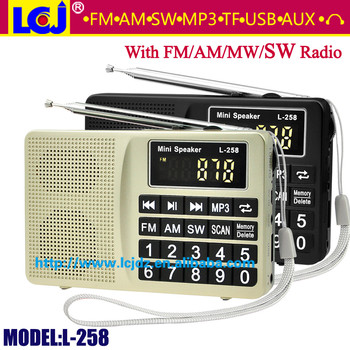 L-258 Portable Mini Mp3 Player Fm Am Sw Radio Speaker