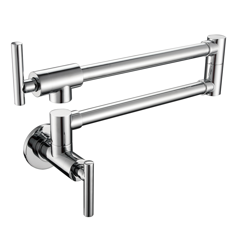 Wall Mounted Single Cold Folding Spout Chrome Brass Kitchen Faucet 360 Degress Tap