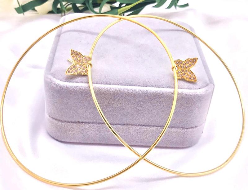 New Butterfly Earrings Copper Gold color Cubic Zircon Hoop Earrings for Women фото