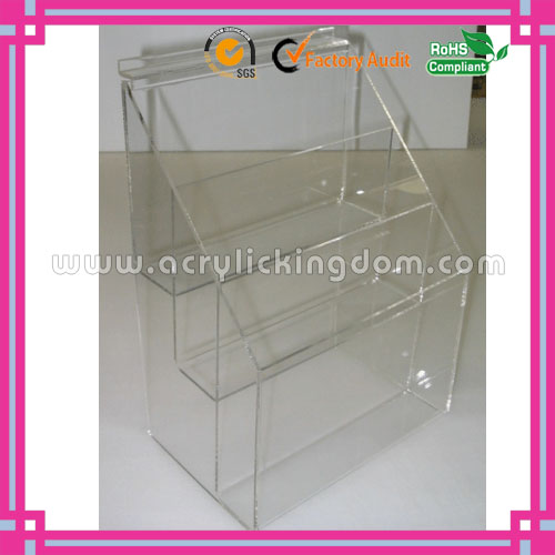 A4 3 pockets clear countertop/slatwall acrylic brochure holder manufacturer