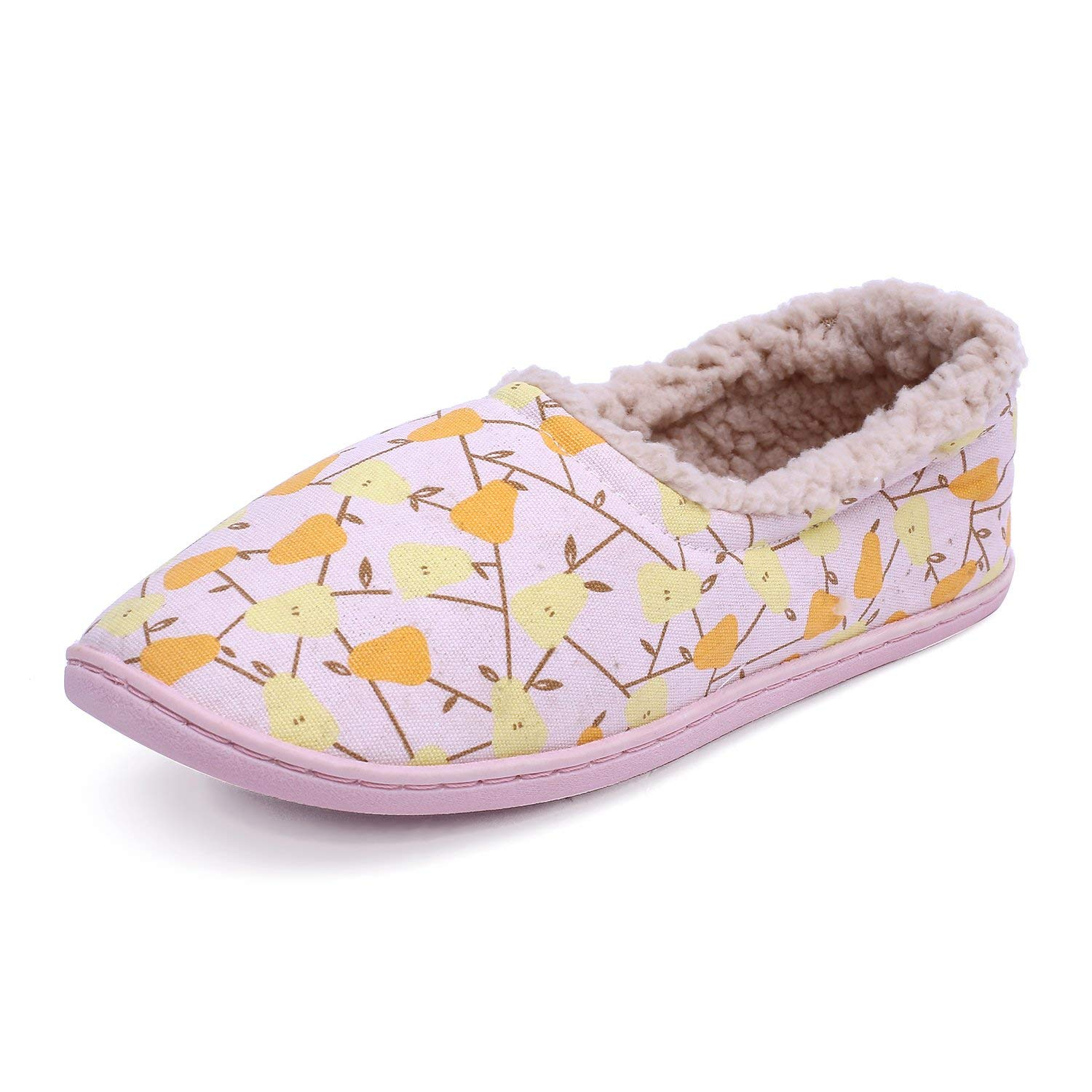 Intinext Women's Cotton Soft Sole Washable Anti-Skid Cozy House Shoes Slippers