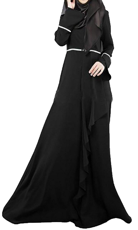 a9b62bda5d4c6 Get Quotations · Pandapang Womens Long Sleeve Islamic Slim Gown Muslim  Abaya Maxi Dress