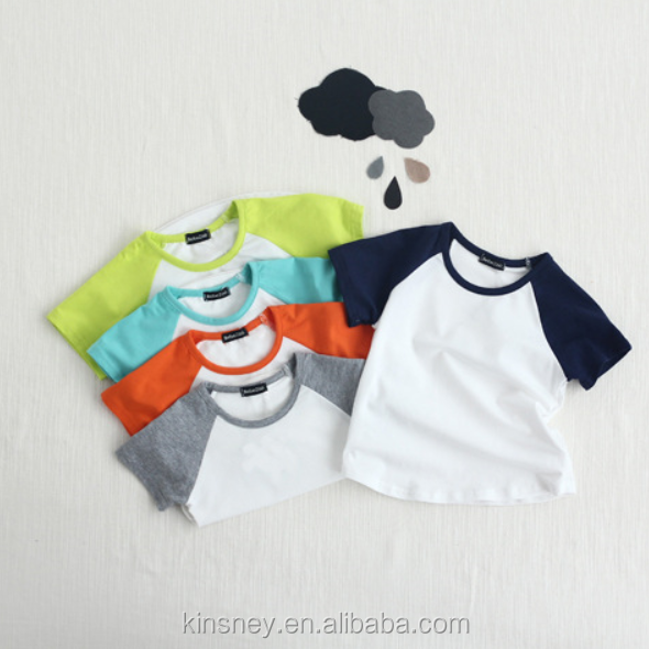 KS10093A Simple style baby summer wear cotton fabric raglan t-shirts