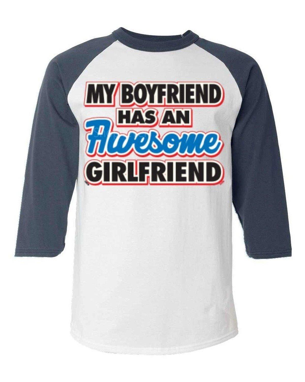 1af0aad18cbf9 Get Quotations · My Boyfriend Has an Awesome Girlfriend Baseball Shirt  SAYINGS Raglan Shirt2XL White/Navy 13276