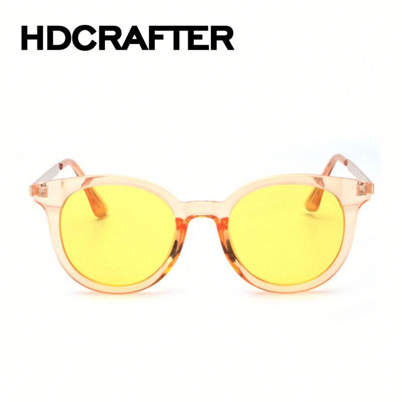 2016 óculos de sol redondos óculos de armação de lente amarela Anti-azul Designer  de df2f3780e2