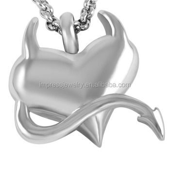 Hot Popular Devil Pet Shape Cremation Urn Pendant Necklace High Polish 316L Stainless Steel Memorial Cremation Ash Urn Jewellery