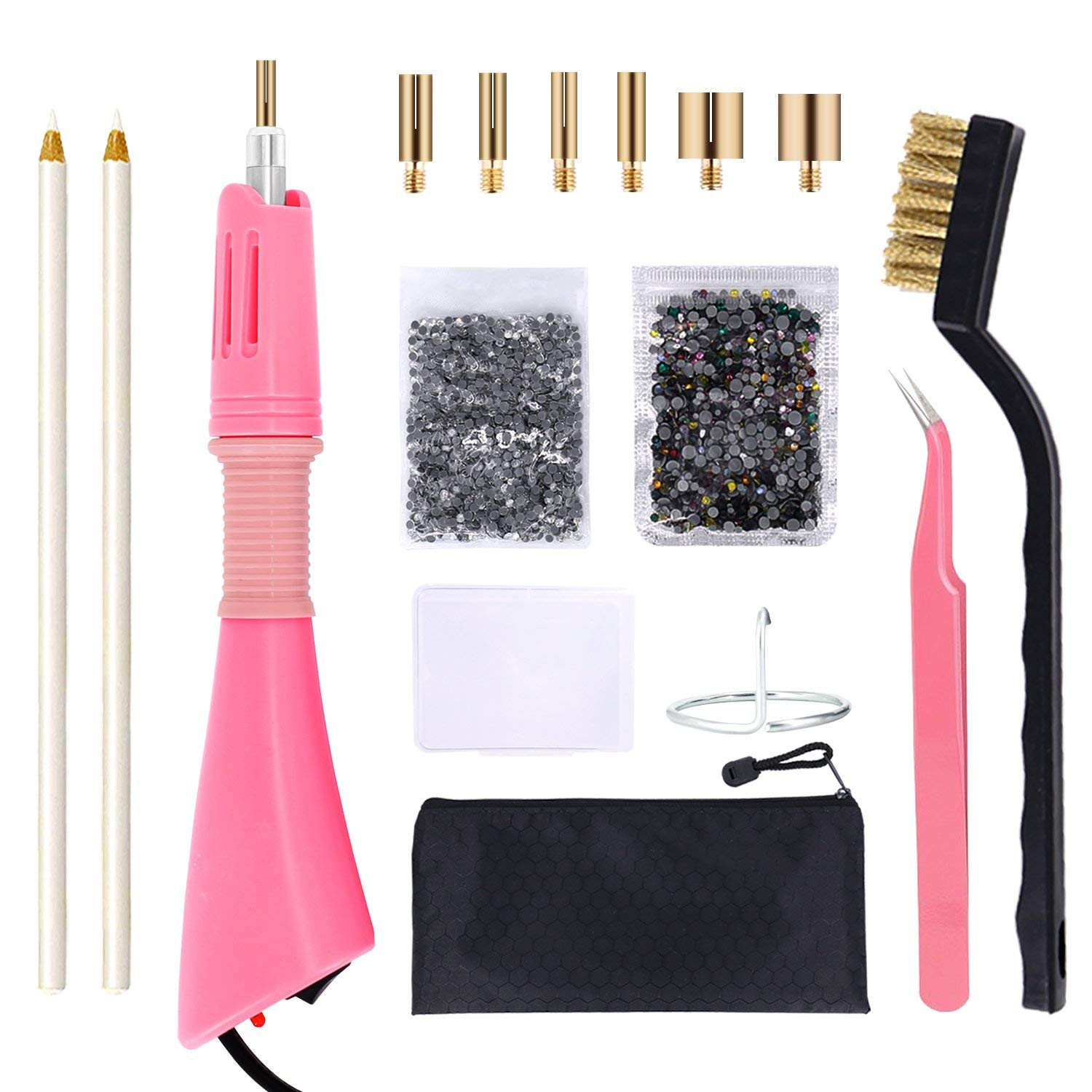 Get Quotations · Hotfix Applicator Rhinestone Setter Kit by GLTECK Hot Fix  Applicator Wand Tool Fix Set with 7 bf682544e891