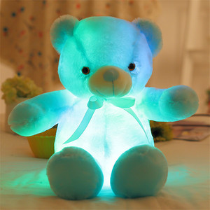 Fashion High Quality Plush Stuffed Cotton Colorful Light LED Cute Bear Toy With Tie