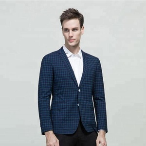Blue checks single two buttons natch lapel T/R fabric men casual suit for summer
