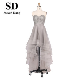 Ladies Cheap Sweetheart neckline Beading Embroidery short front long back Tulle Evening Party Dress