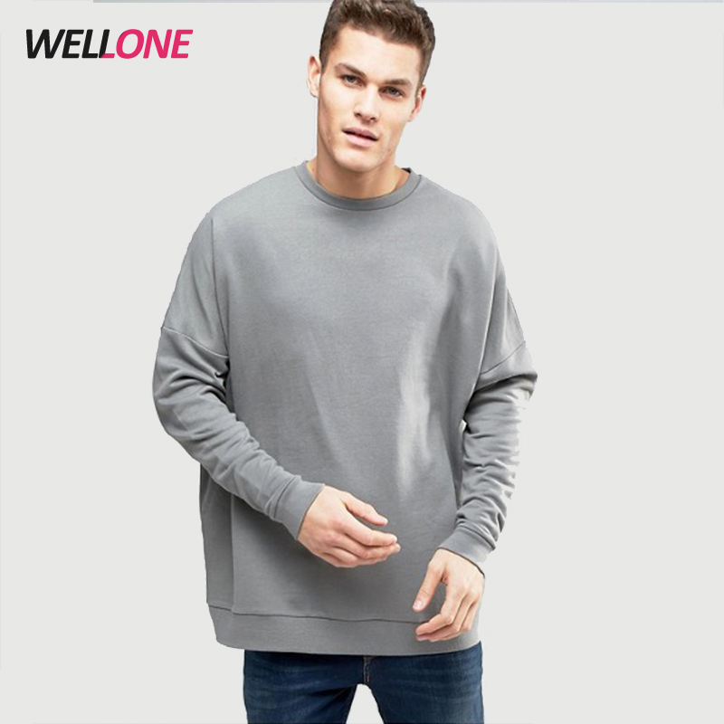 Wellone China factory OEM high quality streetwear fashion style oversized dark grey men custom 100 cotton sweatshirts wholesale