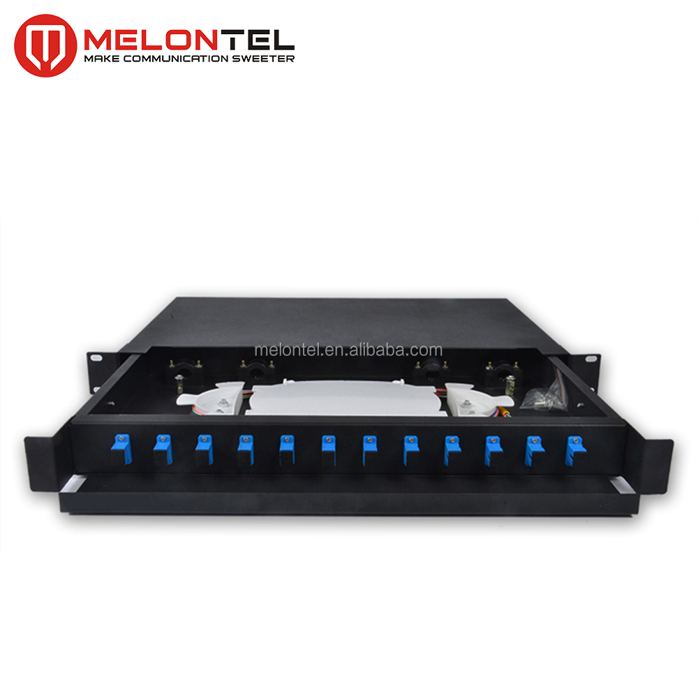 "MT-1006-SC High Quality 19"" Network Cabinet Mount Type SPCC 1U Fully Loaded 12 24 Port SC Fiber Optic Patch Panel"
