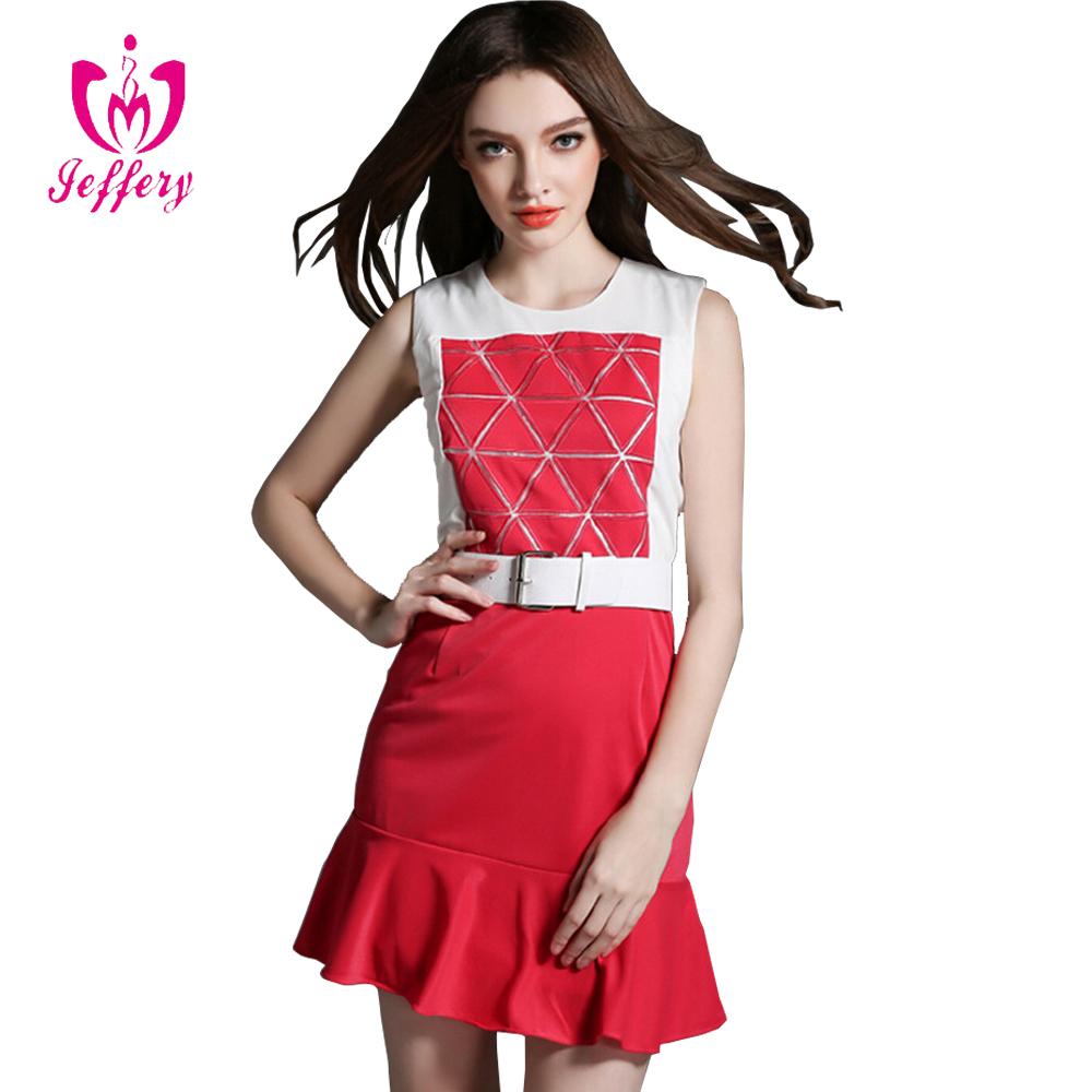 Heißer Verkauf Damen Smart Casual Kleid Rote Und Weiße ...