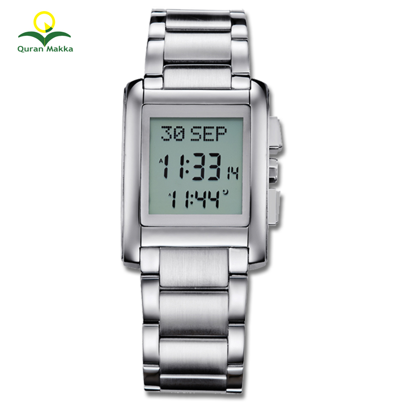 Factory Price OEM Al fajr Watch Azan Wristwatch Muslim Prayer Time, Silver