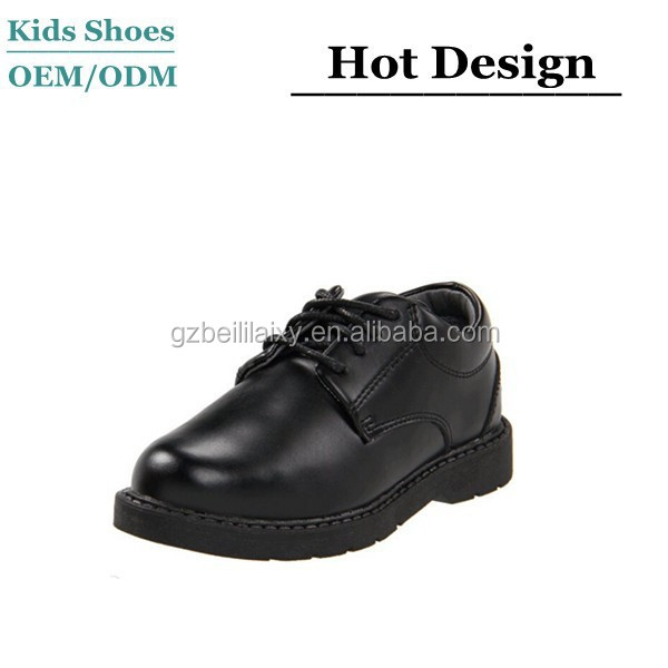 2015 Fashion kids black leather uniform shoe lace-up boys school shoes