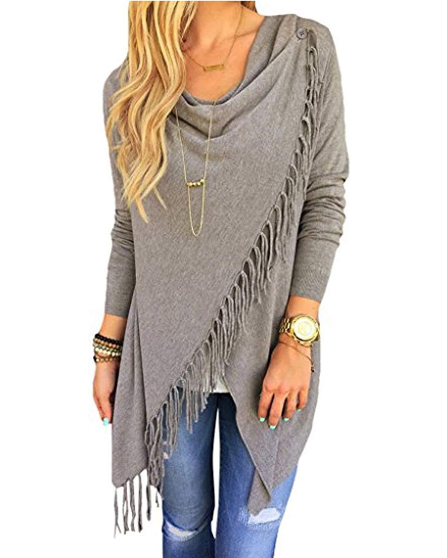 Women's Tassel Hem Crew Neck Long Sleeve Knited Sweater Coat Outwear Tops