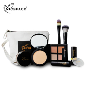 NICEFACE Makeup Kit Contain Highlighter Pressed Loose Powder Concealer Stick Blush Matte Lipstick Puff Brush
