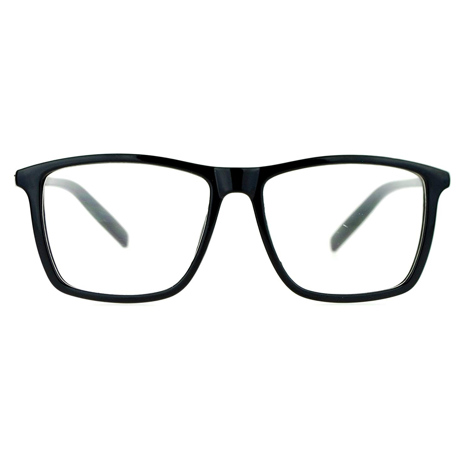 d61f52a18dc Get Quotations · SA106 Black Large Thin Plastic Horn Rim Clear Lens Eye  Glasses Frame