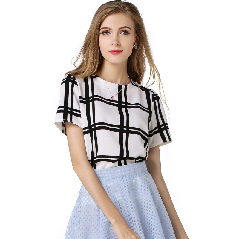 Summer New Style Women Short Sleeve Shirts Chiffon Blouses Ladies Tops Black White Plaid Shirt  Loose Blouse Puff Sleeves LYX023