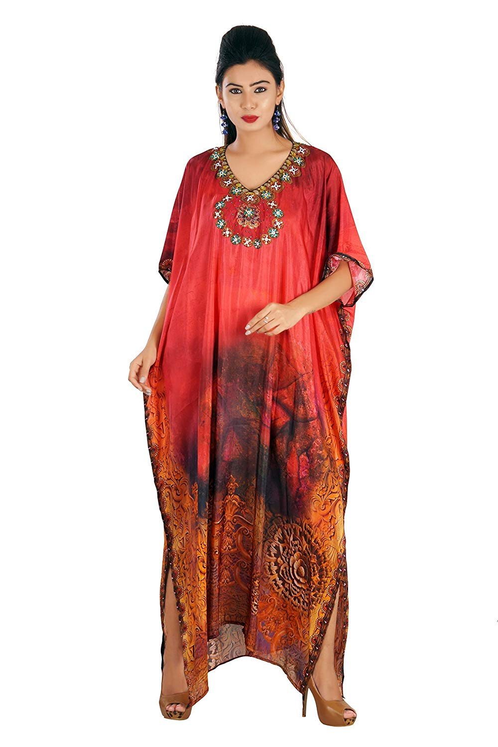 2586a32626 Get Quotations · Silk kaftan online one piece dress on sale jeweled hand  made formal