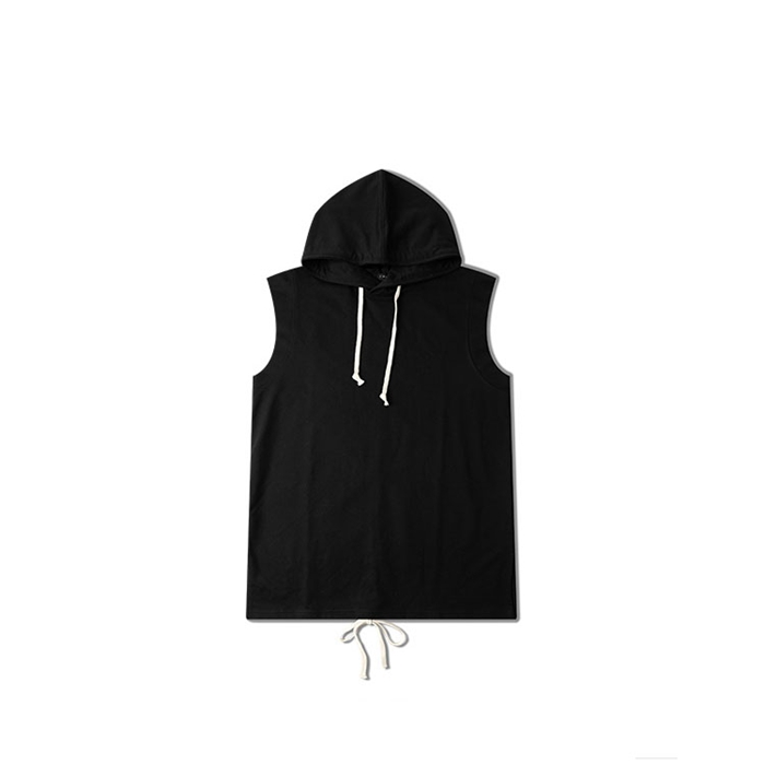 OEM fashion design black sleeveless pullover 100 cotton hoodie for men